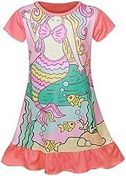 COTRIO Girls Unicorn Short Sleeve Nightgown Sleepwear Night Party Dress Pajamas