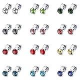 ORAZIO 12 Pairs Stainless Steel CZ Stud Earrings for Women Girls Cubic Zirconia