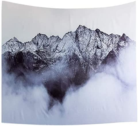Ofat Home Snow Mountain Tapestry Wall Hanging, Fabric Wall Modern Nordic Style Art Photo Poster Wall Tapestry for Bedroom 59×78.7 Inch, Grey Black White