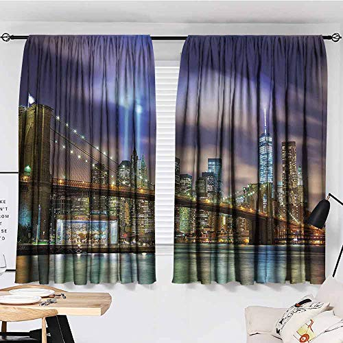 PCNBDJC Modern Curtain Apartment Decor W55 x L45 Manhattan Skyline with Brooklyn Bridge and The Towers of Lights in New York City Puple Green (Apartments In New York City Manhattan For Sale)
