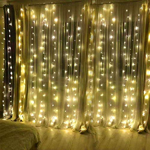 BHCLIGHT Window Curtain String Light,300 LED Icicle Lights for Bedroom Holiday Wedding Party Garden Outdoor Indoor Wall Decorations,Plug in 8 Modes 300 LED String Lights Warm White from BHCLIGHT