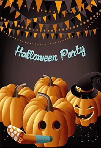 Leyiyi 8x10ft Cartoon Halloween Backdrop Pumpkin Lanterns Party Cracker Confetti Banner Flags Witch Hat Bokeh Halo Photography Background Horror Costume Carnival Photo Studio Prop Vinyl -