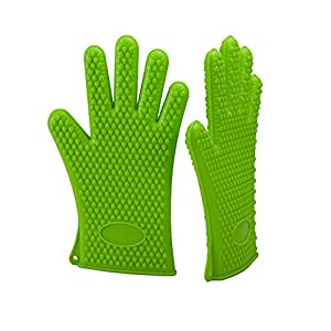 XLstore18 Best Heat resistant BBQ Grill silicone Gloves kitchen cooking Baking mitts perfect fireplace Oven Smoking Camping gloves Pickling for Man Women mitts Green