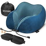 Best Travel Pillows - HOMIEE Travel Pillow, Memory Foam Neck Pillow, 360° Review