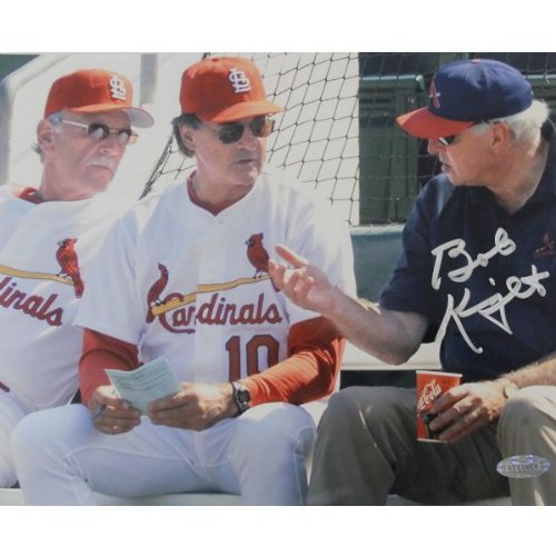 NCAA Indiana Hoosiers Bob Knight Signed Photograph with Jim Leyland and Tony La Russa, 8x10-Inch by Steiner Sports