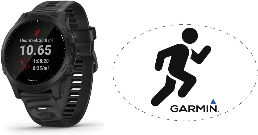 HRM Garmin Forerunner 945 GPS Running Watch Black Bundle with 6x4 Oval Car Magnet