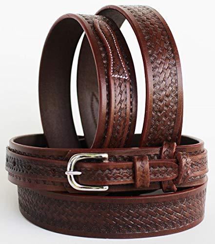 (PRORIDER 49-50 Western Ranger Tooled Leather Belt Hand Basketweave 26Ranger12)