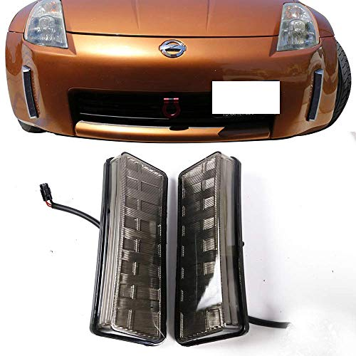 Fog Lights Fits 2003-2005 Nissan 350Z | Front Bumper Smoked LED DRL Reflector Fog Lamps by IKON MOTORSPORTS