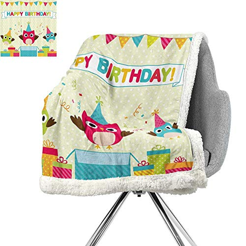 ScottDecor Birthday Decorations for Kids Lightweight Microfiber Blankets,Happy Chubby Baby Owls Flags Box on Polka Dots Backdrop Image,Multicolor,Digital Printing Blanket W59xL78.7 Inch]()