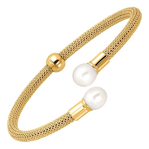 Honora Mesh Cuff Bracelet with Freshwater Cultured Pearls in 18K Gold-Plated Sterling Silver