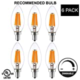 Light Accents Indoor Outdoor Dimmable LED Filament Light Bulb, 6W (40W Equivalent), 600 lumens, 2700K, Warm White, Omnidirectional, Candelabra Base, E12, UL-Listed