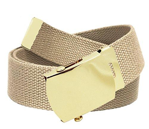 Men's Golf Belt in 1.5 Gold Brass Slider Buckle with Canvas Web Belt X-Large Khaki ()