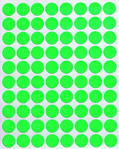 Dot Stickers Neon Green 1/2 - Round Stickers 13mm - Fluorescent Color Coding Labels - 1200 Pack by Royal Green