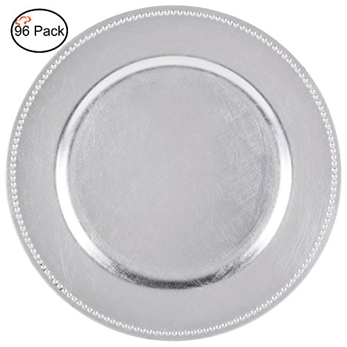 Beaded Edge Dinner Plate - Tiger Chef 13-inch Silver Round Beaded Silver Chargers Plates, Set of 2,4,6, 12 or 24 Dinner Chargers - Set of 96