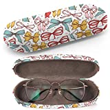 Hard Shell Glasses Protective Case with Cleaning Cloth for Eyeglasses and Sunglasses - Vintage Bows Freehand