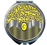Rikki Knight Letter''C'' Yellow Leopard Print Stripes Monogram Design Round Compact Mirror