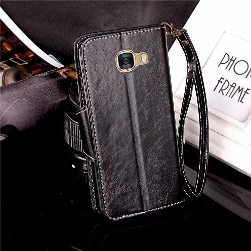 Etui D'entreprise Tpu Laybomo Style Noir C5 Galaxy Doux Pochette bleu Cover Pour Samsung C5 Portefeuille Protecteur Cuir Housse Pu Aimant Coque wIq1g