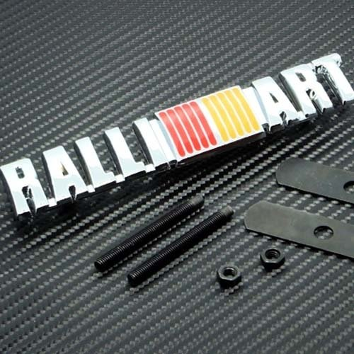 New Ralliart Logo Grill Grille Emblem (UNIVERSAL FITMENT FOR ALL VEHICLES) Red Yellow and Silver