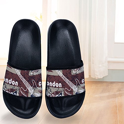 Slippers Quick Flag Black Non Music Rock Drying Slippers Vintage Slip Womens Pattern for xqBI4T