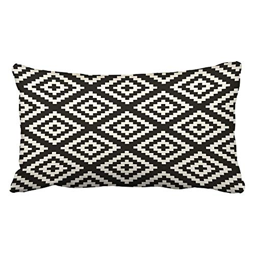 - TOGEFRIEND Decor Pillowcase Geometric Navajo Black and Cream Pattern King 20x30 Inch(51x76cm) Throw Pillow Cover Decorative Covers Cases Cushion Case Two Sides Printed