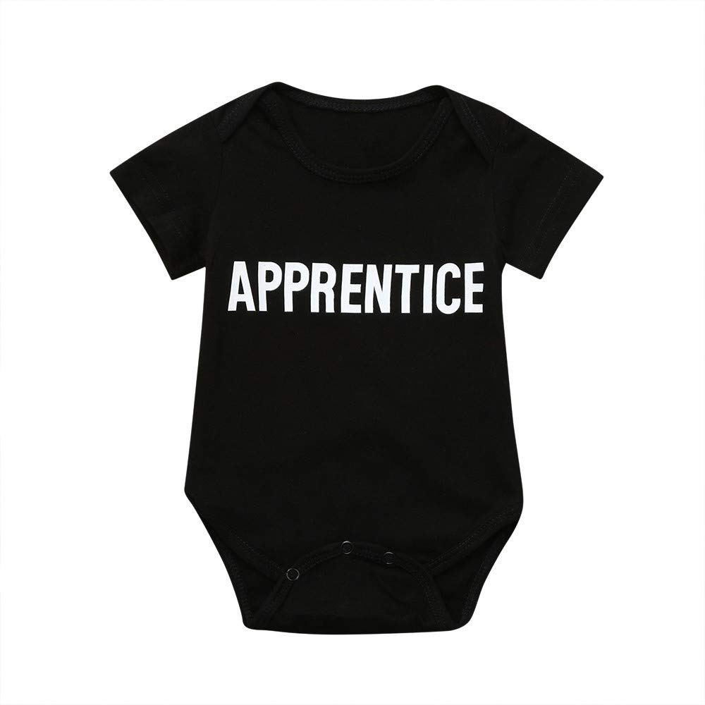 NUWFOR Toddler Baby Short Sleeve Letter Romper Playsuit Tops Matching Family Clothes(Black,9-12 Months