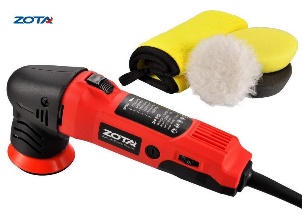 """ZOTA Polisher, 3"""" Orbital Polisher, Mini Portable Rotary Polisher Kit with 3 Polishing Pads and Microfiber Towel"""