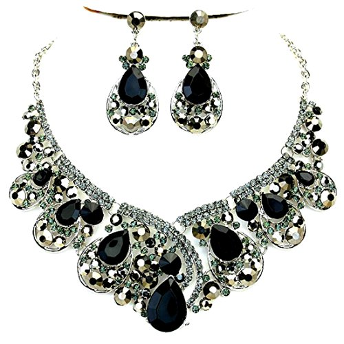 - Affordable Wedding Jewelry Black Gray Rhinestone Crystal Statement Silver Chain Necklace Earrings Set