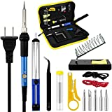 Soldering Iron Kit, 60W 110V Temperature Adjustable Welding Tools,Soldering Pump, Soldering Iron Gun, 5 Soldering Iron Tips, Tin Wire Tube, Soldering Iron Stand, Tweezers, Stripper Cutter, 2 Wires