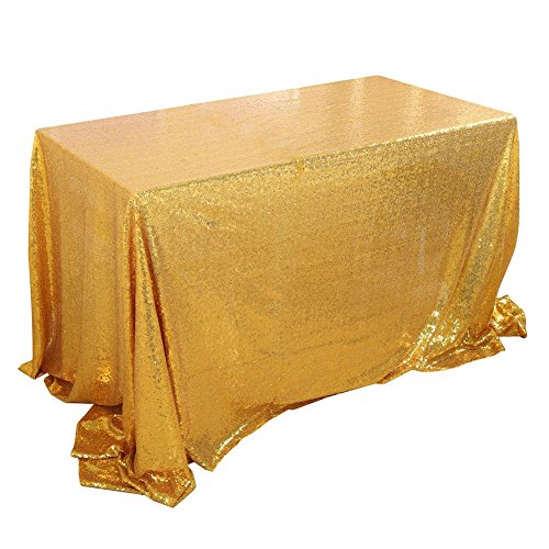 Fuloon Gold Sequin Table Runner Tablecloth Glitter Sequin
