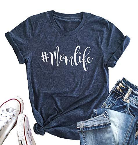 ALLTB Womens Momlife Letters Print Basic T-Shirt O-Neck Short Sleeve Casual Tee Tops for Mom Blue