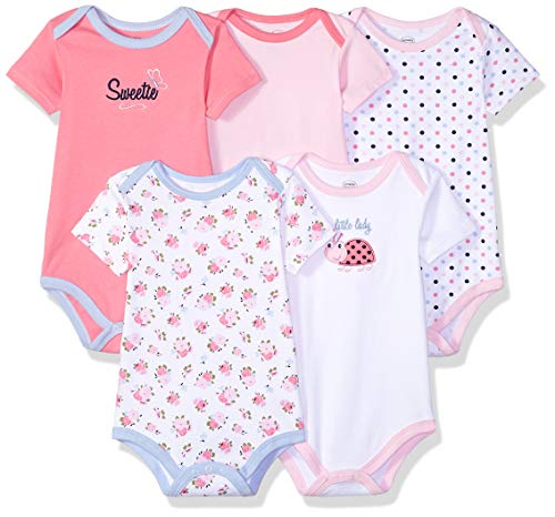 Luvable Friends Unisex Baby Cotton Bodysuits, Little Ladybug Short Sleeve 5 Pack, 9-12 Months (12M)