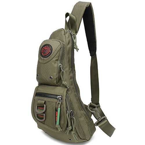 Sling Backpacks, Sling Chest Bags Shoulder Fanny Pack Crossbody Bags for Men Women Outdoor Travel Walking Dog Running (Army green)
