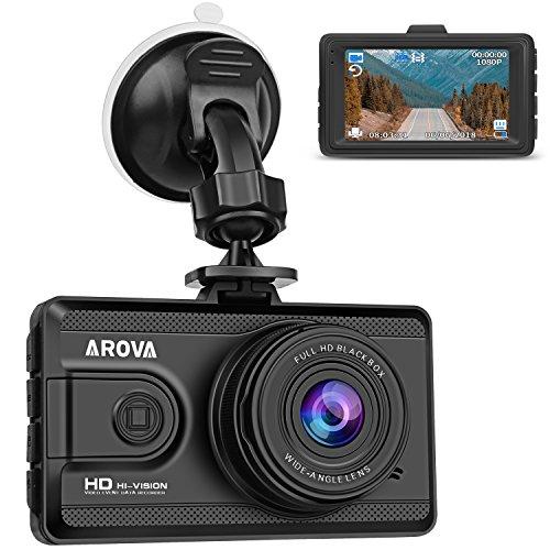 AROVA Dash Cam Full HD 1080P Dash Camera 3 Inch Screen Dashboard Camera Recorder 170 Degree Wide Angle Car Camera with G-Sensor, Parking Monitor, HDR, Loop Recording