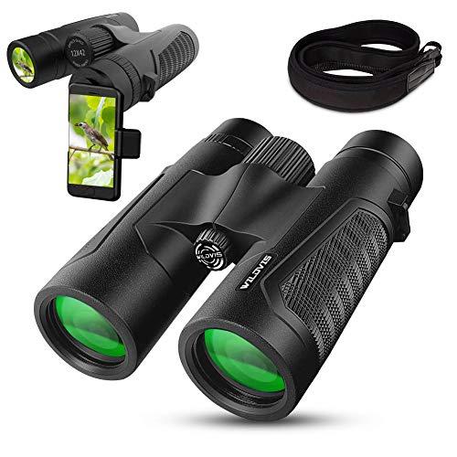 🥇 Prismáticos de 12 x 42 para adultos con nuevo adaptador de fotografía de smartphone – Ocular grande de 18 mm – Lente superbrillante BAK4 prisma FMC de 16