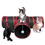 Image of Cat Tunnel, 3 Way Collapsible Cat Toy Tunnel with Ball for Cat, Puppy, Kitty, Kitten, Rabbit (T-shaped)