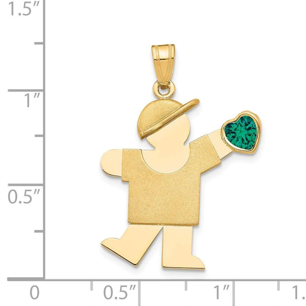 The Kids Collection 14K Yellow Gold Boy with Green CZ May Birthstone Charm Pendant
