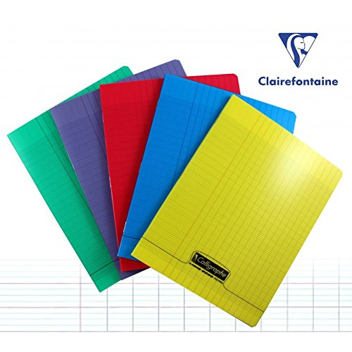 - Clairefontaine 170 x 220 mm Polypro Staple Bound Notebook, Seyes Ruled, Red, 192 Pages