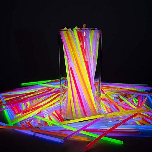 glow sticks bulk,Beni joy,party supplies,glow in the dark connectors for bracelets,necklaces,balls,glasses,light up toys,party favor for kids,100 pcs 8 inch -