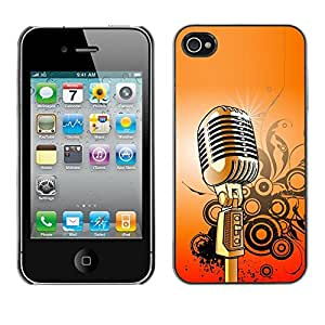 Design for Girls Plastic Cover Case FOR iPhone 4 / 4S Microphone Music Singing Retro Vintage OBBA