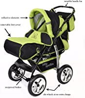 FIXED Car Seat Pushchair /& Accessories 3-in-1 Travel System, Black /& Green Classic 3-in-1 Travel System with 4 STATIC WHEELS incl Baby Pram Kamil