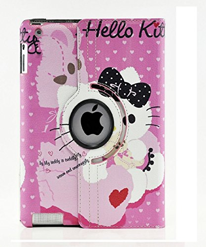 (New iPad 9.7 Case 2017 2018 Generation, iPad 6th Generation Case, Hello Kitty Design 360 Degree Rotating PU Leather Hard Case for Apple New iPad 9.7 inch Case Cover (Color 5))