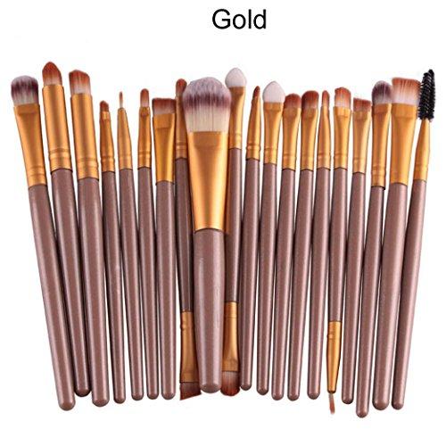 SINMA 20 pcs/set Professional Makeup Brush Set tools Make-up Toiletry Kit Wool Make Up Brush Set (A, Gold)