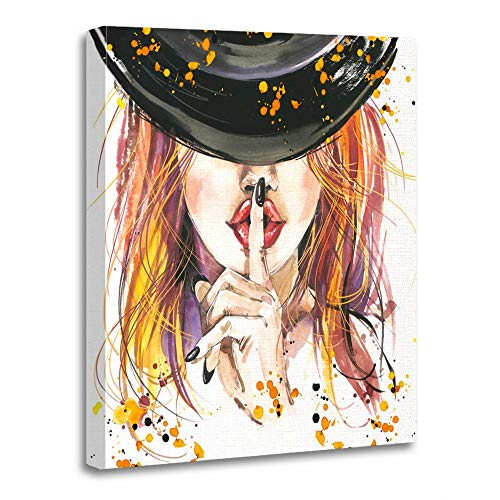 Emvency Painting Canvas Print Artwork Decorative Print Wooden Frame Watercolor Woman Witch Girl Halloween Holiday Backgroun for Festival Hand 20x30 Inches Wall Art for Home Decor