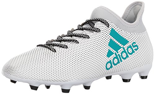 adidas Men's X 17.3 Firm Ground Cleats Soccer Shoe, White/Energy Blue/Clear Grey, (9.5 M US) (Mens Football Cleat)