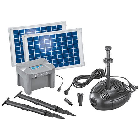 esotec Milano LED Solar-Teichpumpensystem mit Akku LED-Beleuchtung