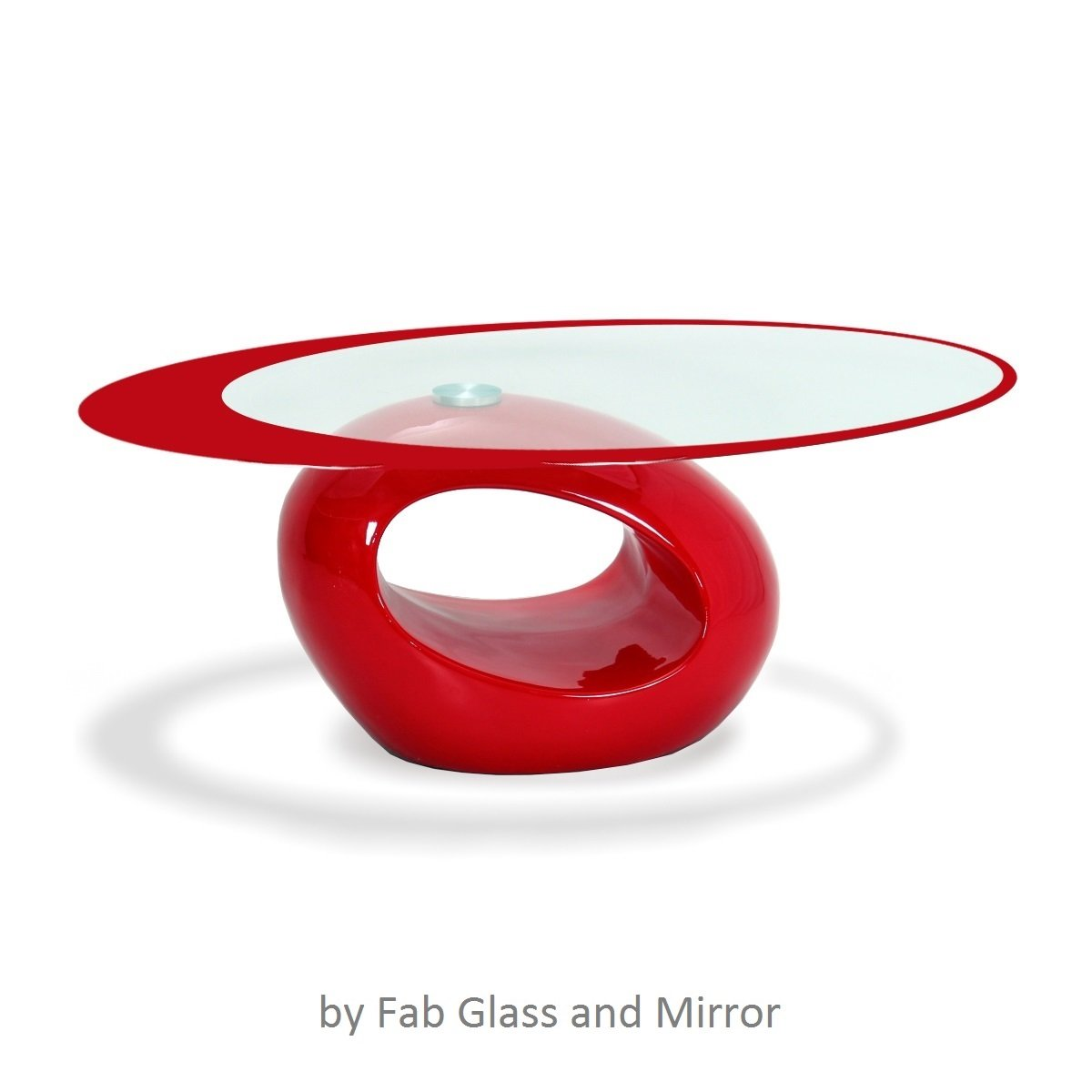 Fab Glass and Mirror Stylish Oval Shape Coffee Table, Red