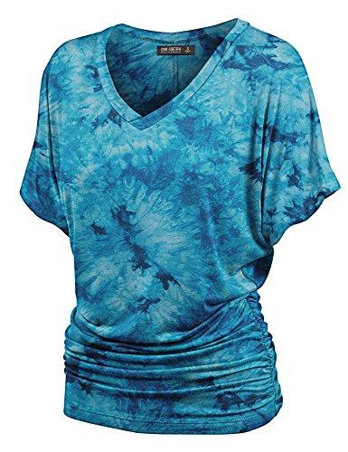 Lock and Love WT1114 Womens V Neck Short Sleeve Tie Dye Shirring Dolman Top XXL Teal