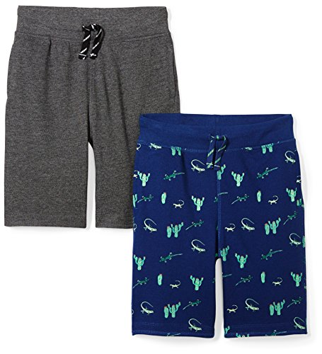 Amazon Brand - Spotted Zebra Boys'   2-Pack French Terry Knit Shorts, Desert/Charcoal, -