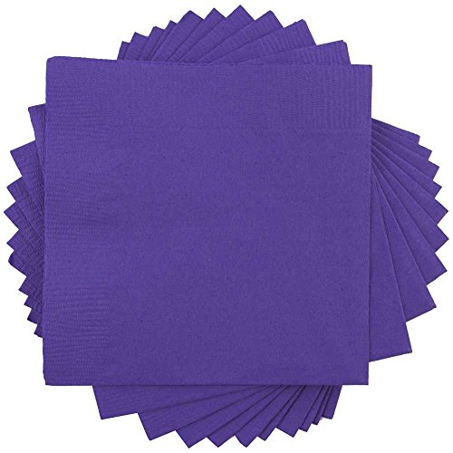 (JAM PAPER Small Beverage Napkins - 5 x 5 - Purple - 50/Pack)