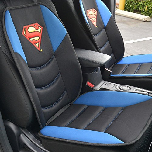 Superman Car Seat Cushion - Padded Comfort Support for Car Truck SUV Home & Office (Pair) (Superman Seat Covers For Cars compare prices)